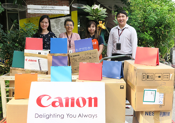 Canon contributes to the environmental protection By donating old calendars and books to the Mirror Foundation